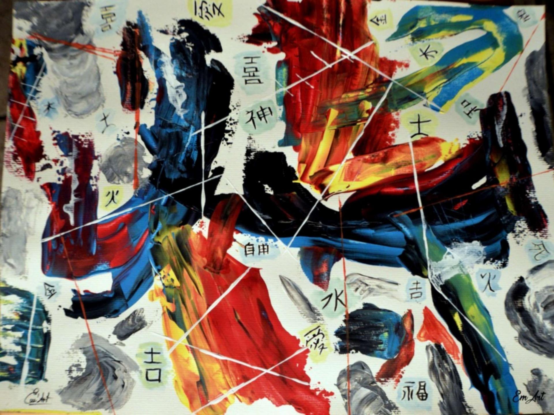Célébration, acrylique abstraite sur papier par Em'Art