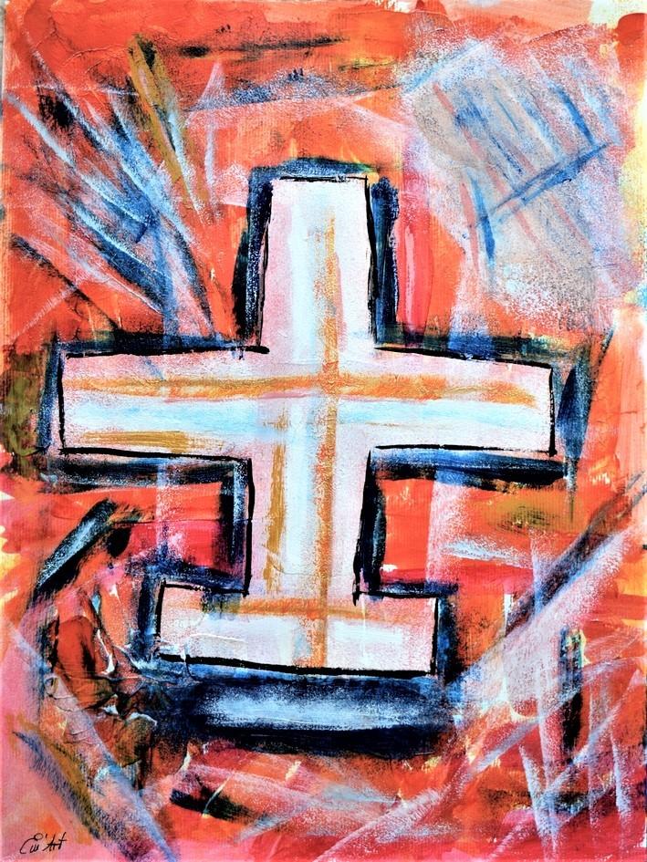 Deus, peinture mixte sur papier par Emmanuelle Baudry