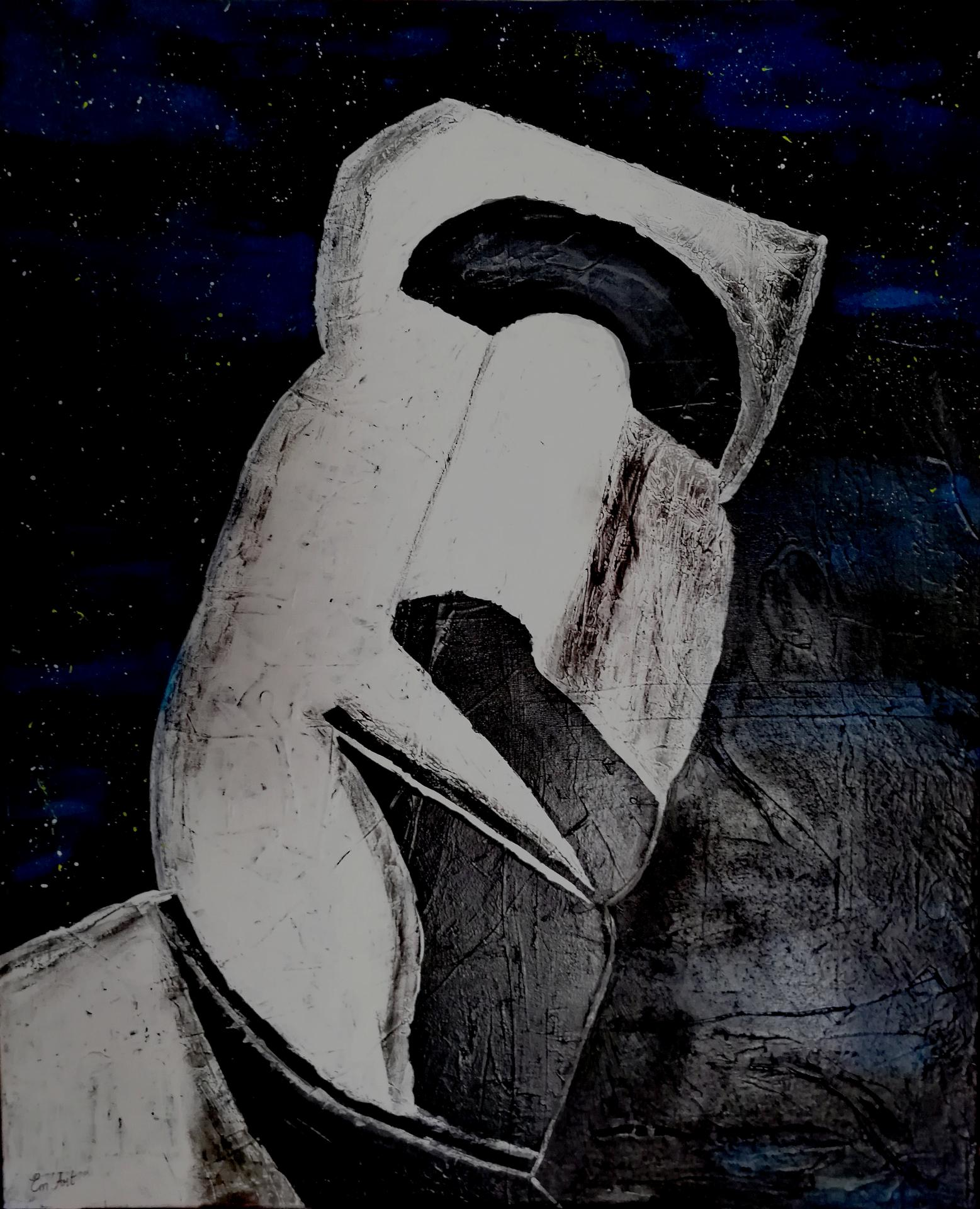 Moaï, acrylique et fusain sur toile par Em'Art