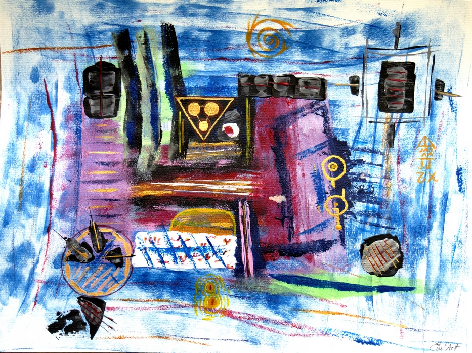 Machine temporelle - acrylique abstraite sur papier par Em'Art
