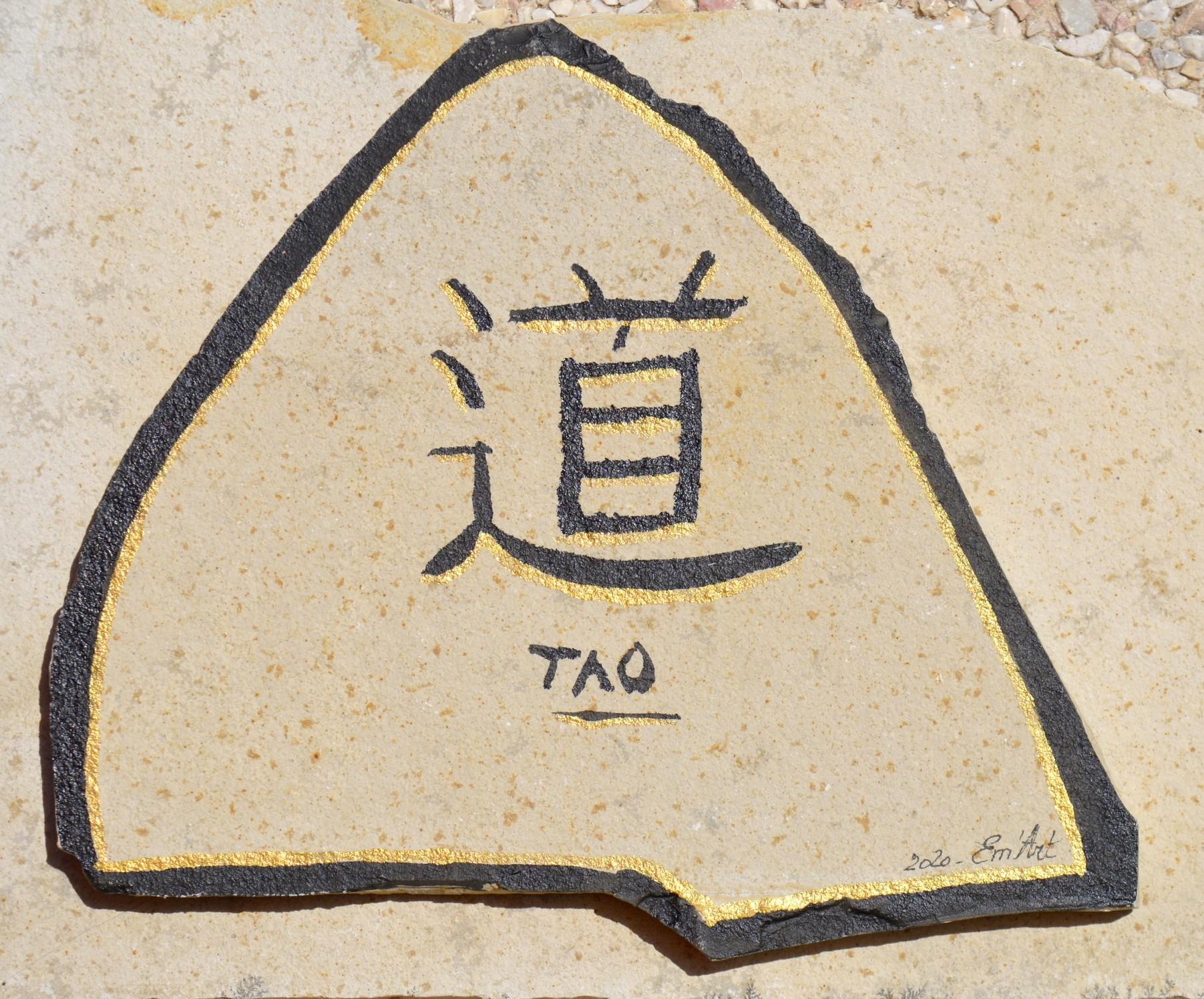 Tao, face B  - Encre de chine sur pierre plate par Emmanuelle Baudry