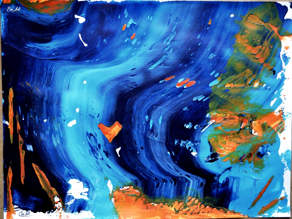 Utopia  - acrylique abstraite sur papier 30 x 40 cm